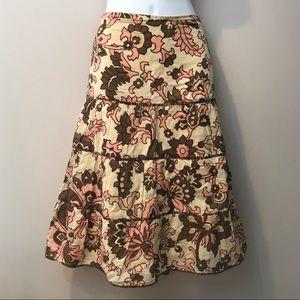 Ann Taylor Loft Pink/tan/brown skirt. Size 12